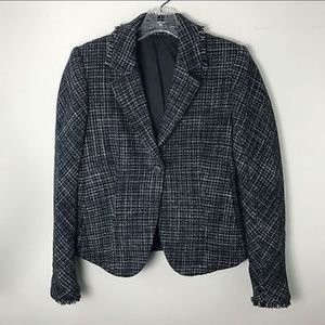 Theory 100% wool plaid Blazer jacket fringe